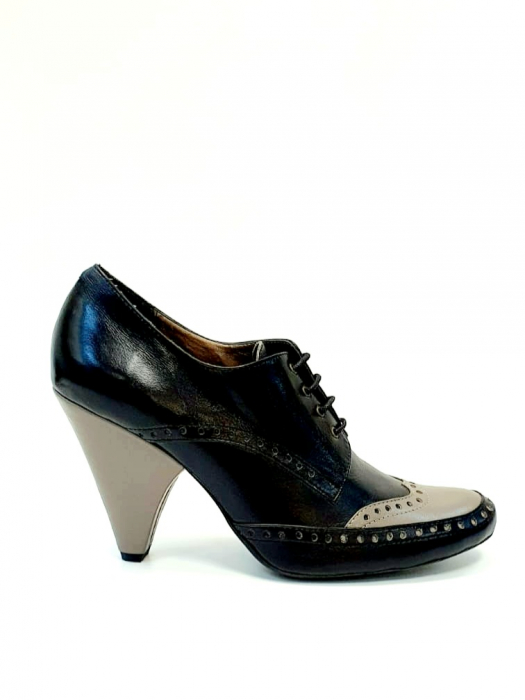Pantofi cu toc Piele Naturala Negri Amy D02708 0