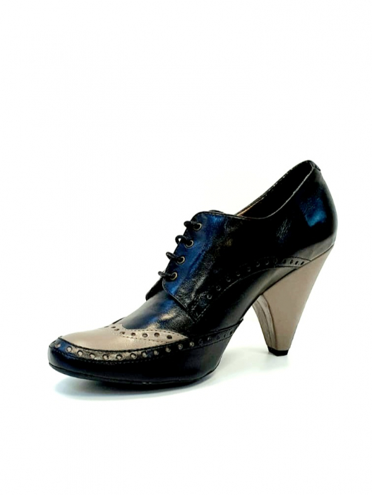 Pantofi cu toc Piele Naturala Negri Amy D02708 1