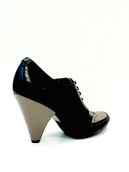 Pantofi cu toc Piele Naturala Negri Amy D02708 3