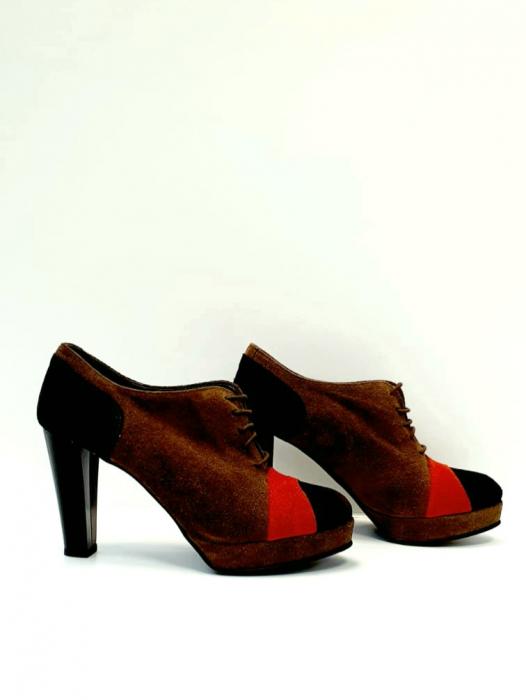 Pantofi cu toc Piele Naturala Maro Andy D02712 4