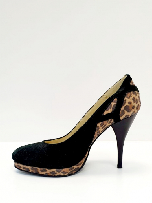 Pantofi cu toc Piele Naturala Negri Yela D02710 1