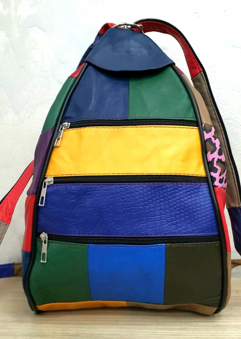Rucsac Dama Piele Naturala Multicolor Seana G00287 2