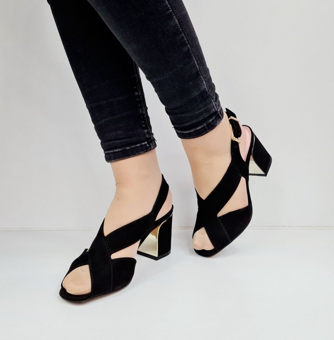 Sandale Dama Piele Naturala Negre Epica Tamara D02673 2