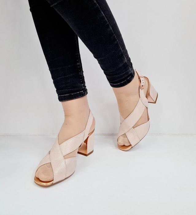 Sandale Dama Piele Naturala Nude Epica Laisa D02674 2