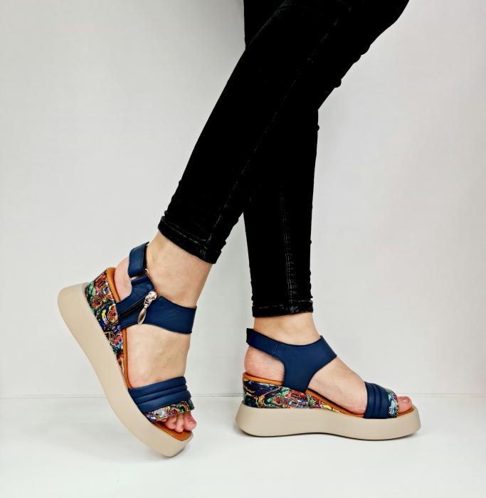 Sandale Dama Piele Naturala Bleumarin Prego Blanche D02756 [0]
