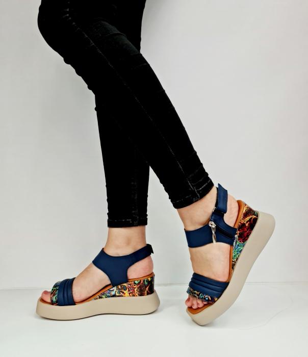 Sandale Dama Piele Naturala Bleumarin Prego Blanche D02756 [1]