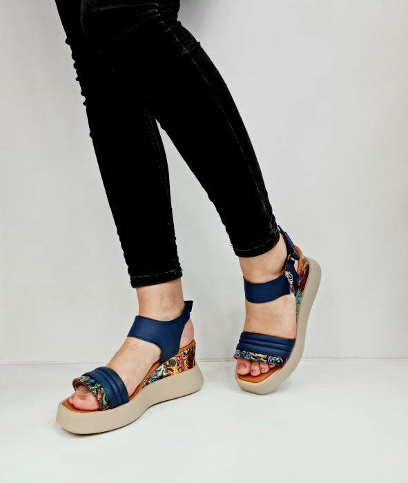 Sandale Dama Piele Naturala Bleumarin Prego Blanche D02756 [2]