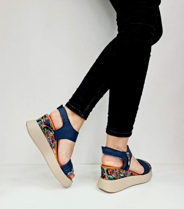 Sandale Dama Piele Naturala Bleumarin Prego Blanche D02756 [3]