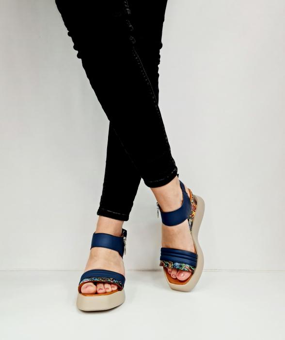 Sandale Dama Piele Naturala Bleumarin Prego Blanche D02756 [4]