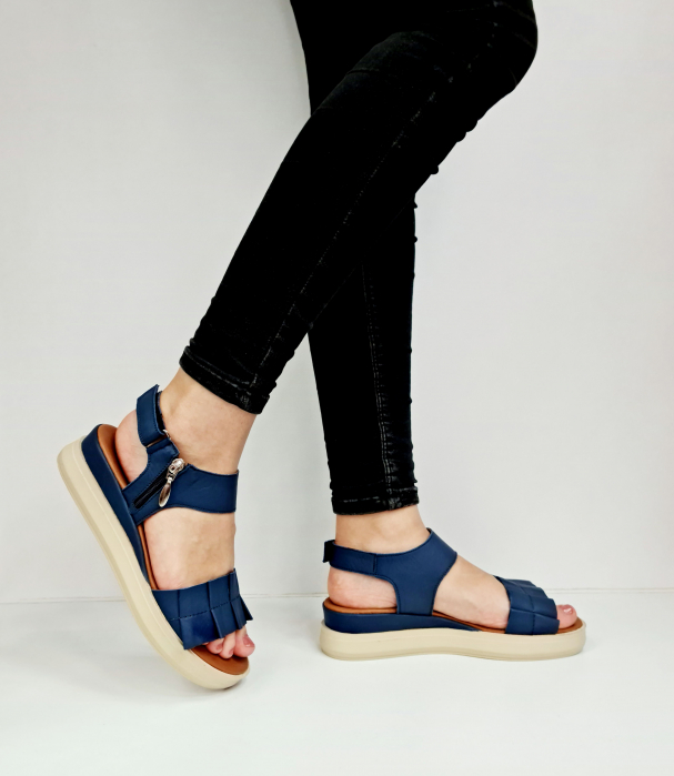 Sandale Dama Piele Naturala Bleumarin Prego Camille D02757 [0]