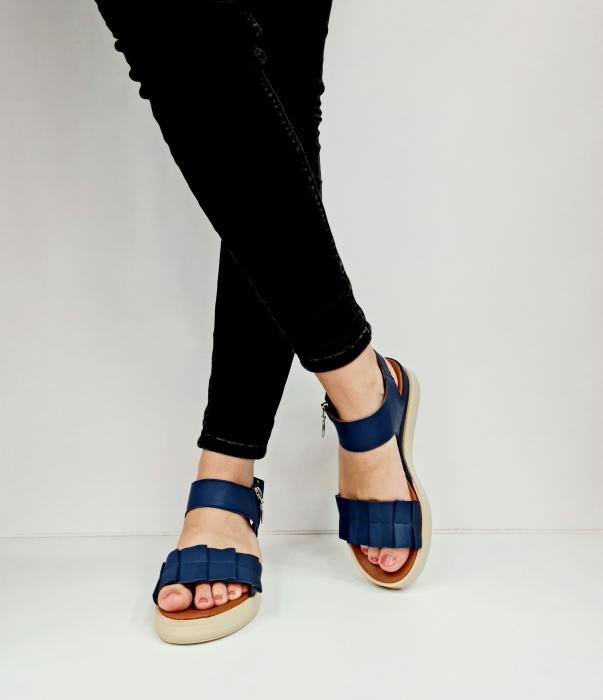Sandale Dama Piele Naturala Bleumarin Prego Camille D02757 [3]