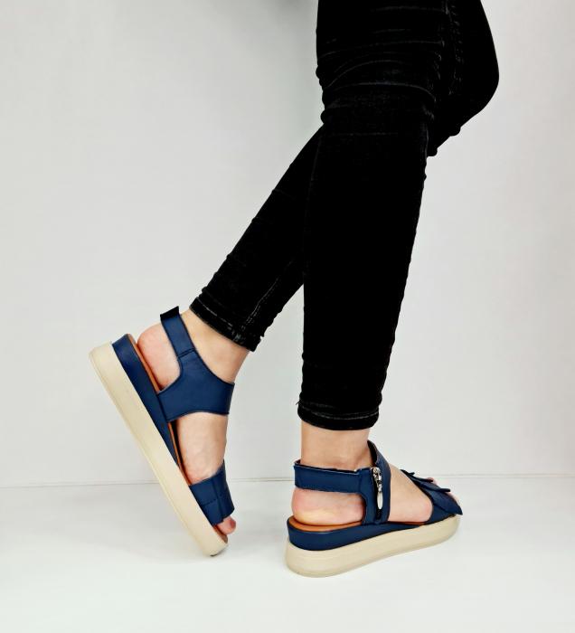 Sandale Dama Piele Naturala Bleumarin Prego Camille D02757 [4]