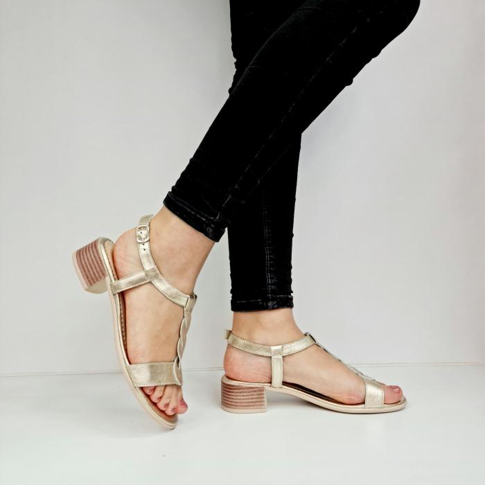 Sandale Dama Piele Naturala Aurii Prego Isabella D02758 [0]