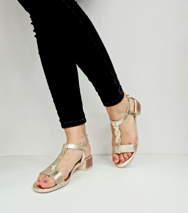 Sandale Dama Piele Naturala Aurii Prego Isabella D02758 [2]