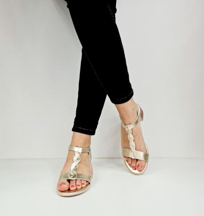 Sandale Dama Piele Naturala Aurii Prego Isabella D02758 [4]
