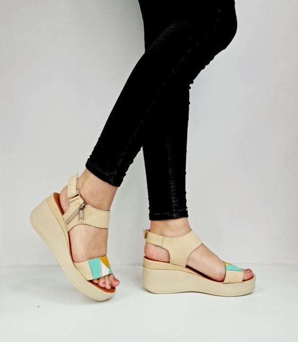 Sandale Dama Piele Naturala Bej Prego Barbara D02760 [0]