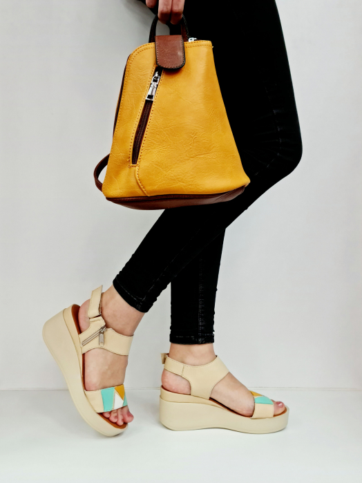 Sandale Dama Piele Naturala Bej Prego Barbara D02760 [2]