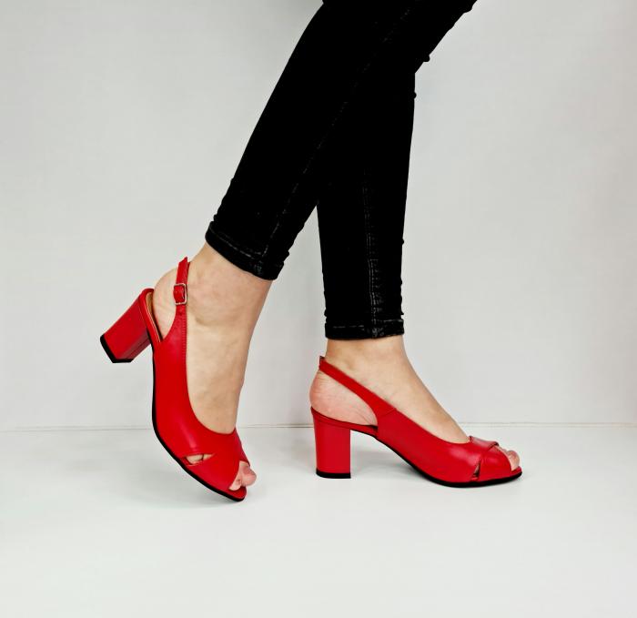 Sandale Dama Piele Naturala Rosu Carole D02761 [0]