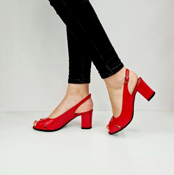 Sandale Dama Piele Naturala Rosu Carole D02761 [1]