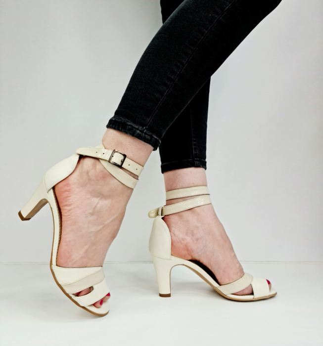 Sandale Dama Piele Naturala Bej Guban Noella D02769 [0]
