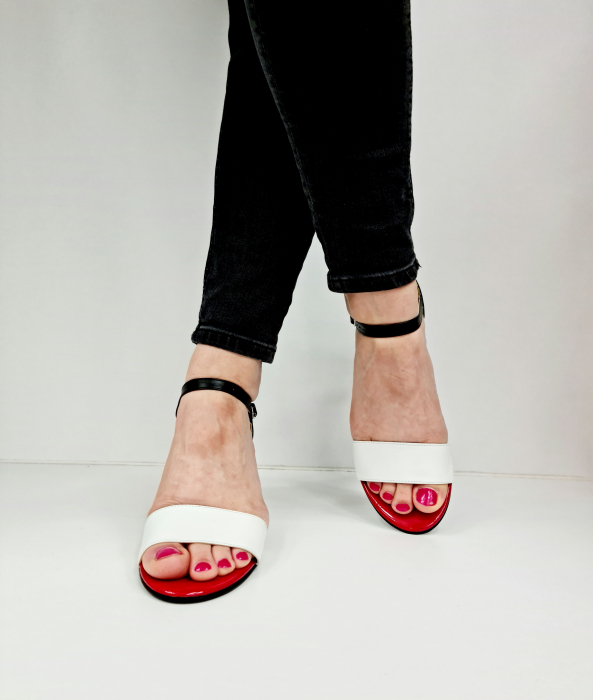 Sandale Dama Piele Naturala Albe Corvaris Charlot D02770 [3]