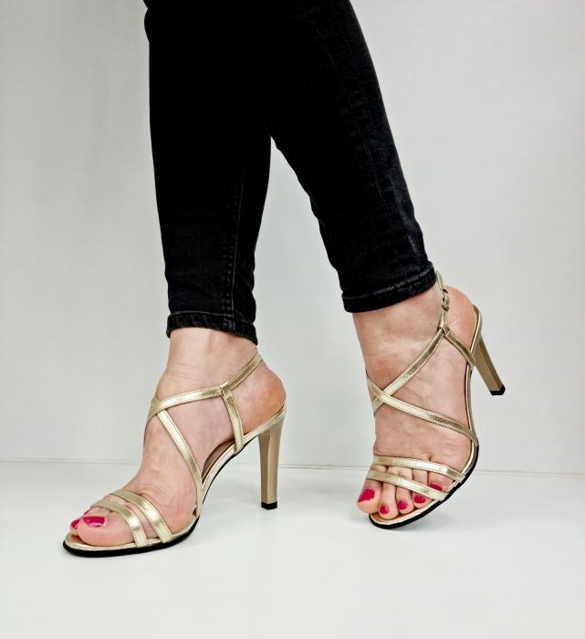 Sandale Dama Piele Naturala Aurii Moda Prosper Shakti D02771 [2]