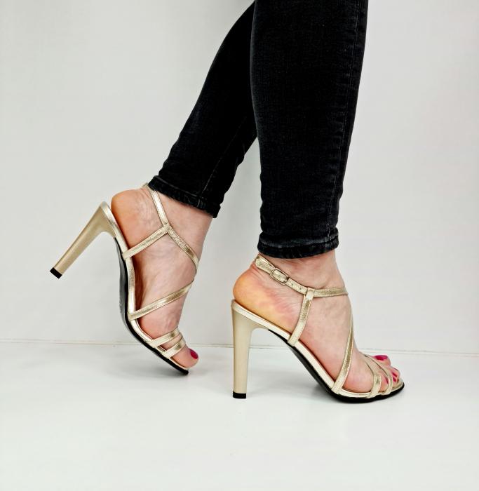 Sandale Dama Piele Naturala Aurii Moda Prosper Shakti D02771 [4]