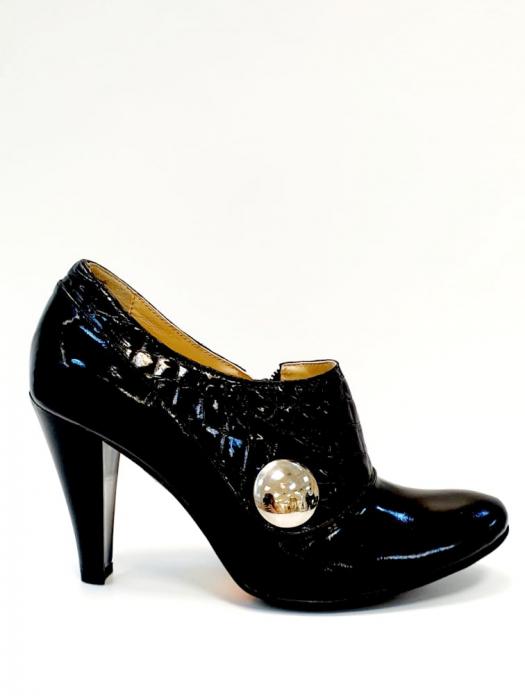 Pantofi cu toc Piele Naturala Negri Teddy D02711 0