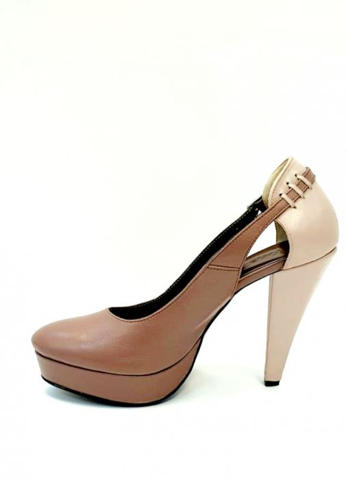 Pantofi cu toc Piele Naturala Roze Izzy D02707 1