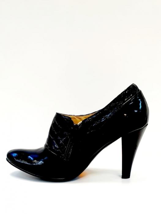 Pantofi cu toc Piele Naturala Negri Teddy D02711 1