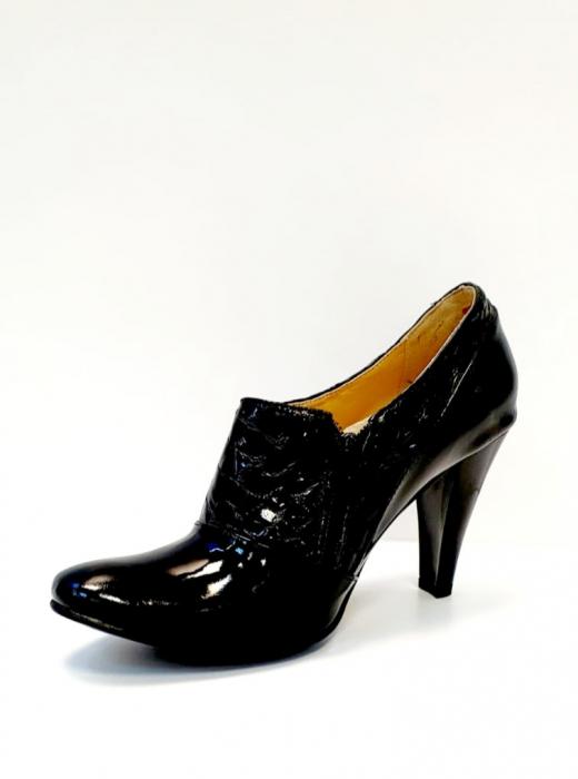 Pantofi cu toc Piele Naturala Negri Teddy D02711 2