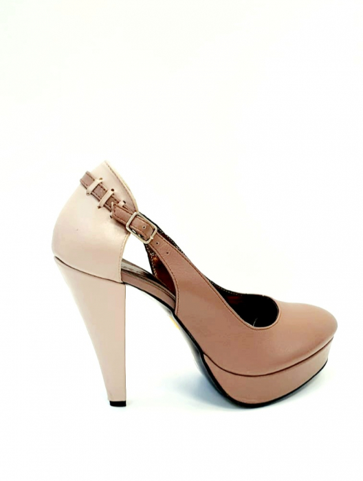 Pantofi cu toc Piele Naturala Roze Izzy D02707 3
