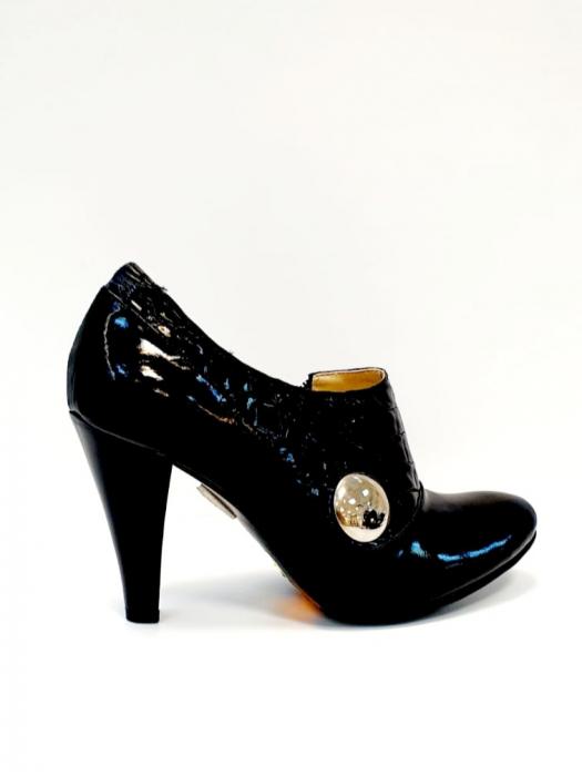Pantofi cu toc Piele Naturala Negri Teddy D02711 3