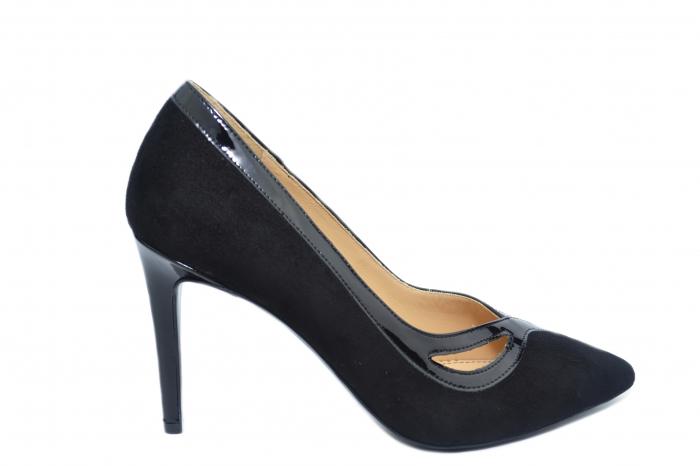 Pantofi cu toc Piele Naturala Negri Guban Siena D02127 0