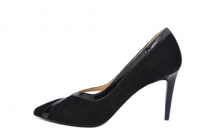 Pantofi cu toc Piele Naturala Negri Guban Siena D02127 1