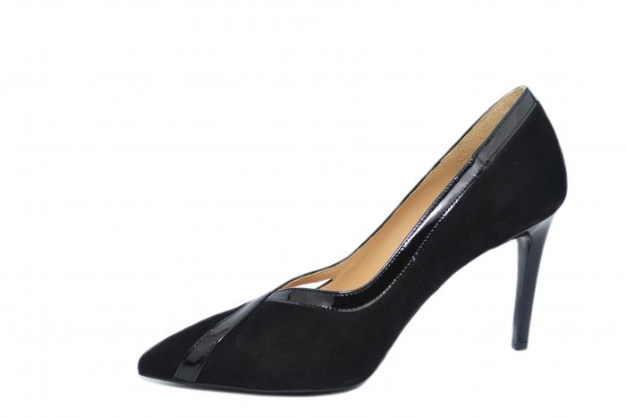 Pantofi cu toc Piele Naturala Negri Guban Siena D02127 2