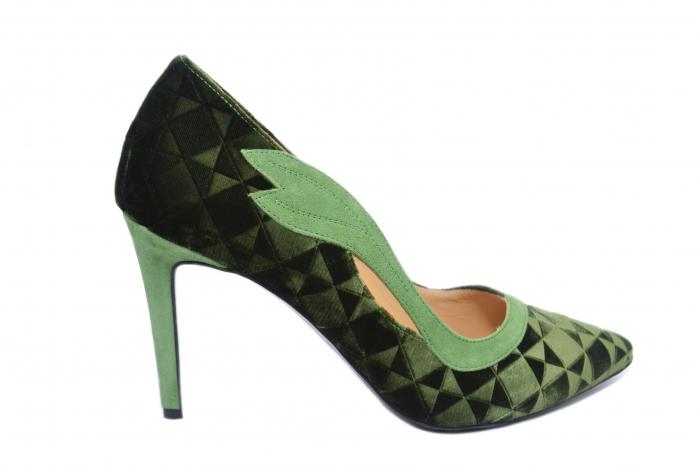 Pantofi cu toc Piele Naturala Verzi Guban Jeanine D02186 0