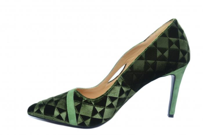 Pantofi cu toc Piele Naturala Verzi Guban Jeanine D02186 1