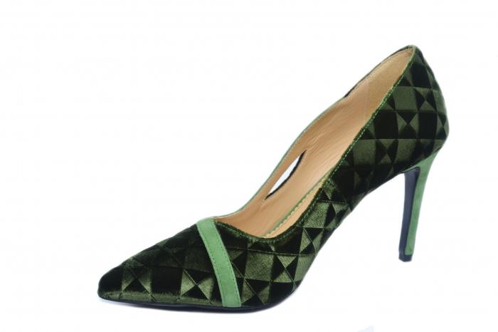 Pantofi cu toc Piele Naturala Verzi Guban Jeanine D02186 2
