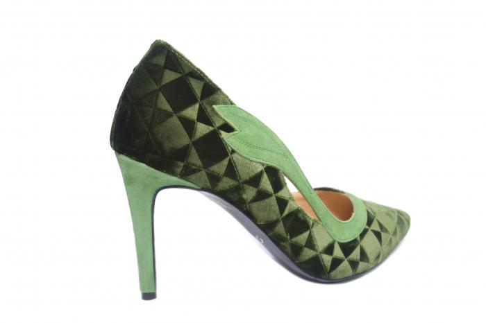 Pantofi cu toc Piele Naturala Verzi Guban Jeanine D02186 3