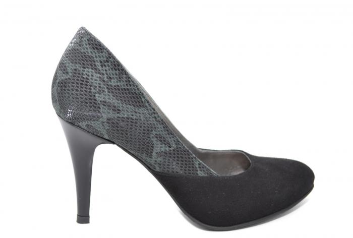 Pantofi cu toc Piele Naturala Negri Moda Prosper Saima D02069 0