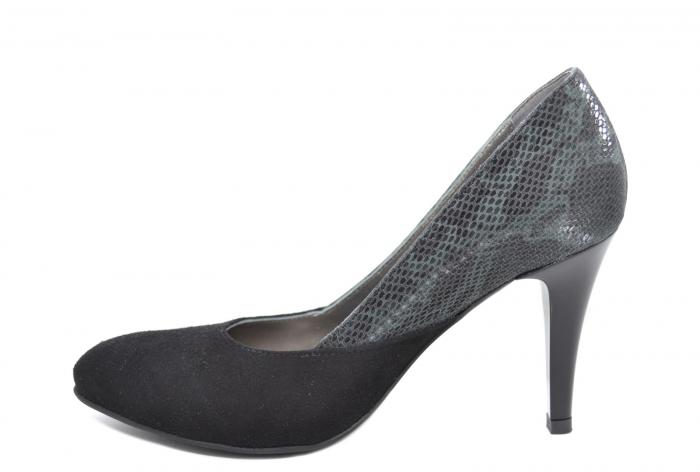 Pantofi cu toc Piele Naturala Negri Moda Prosper Saima D02069 1