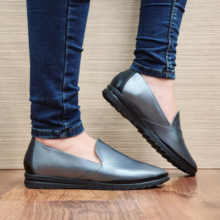 Pantofi Casual Piele Naturala Gri Estela D02296 0