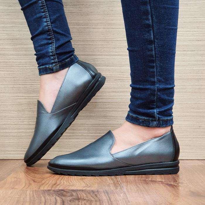 Pantofi Casual Piele Naturala Gri Estela D02296 1