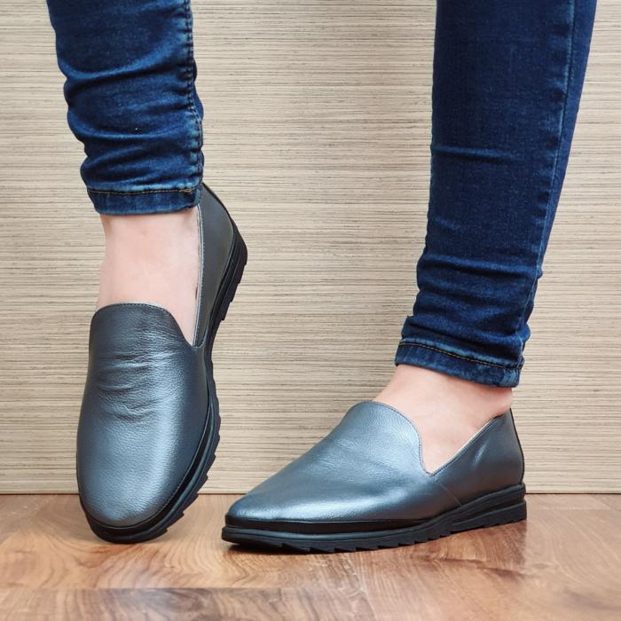 Pantofi Casual Piele Naturala Gri Estela D02296 2