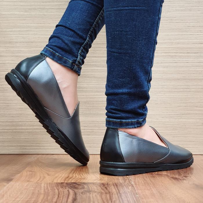 Pantofi Casual Piele Naturala Gri Estela D02296 3