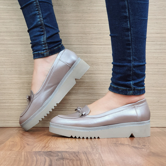 Pantofi Casual Piele Naturala Nude Louisa D02297 1