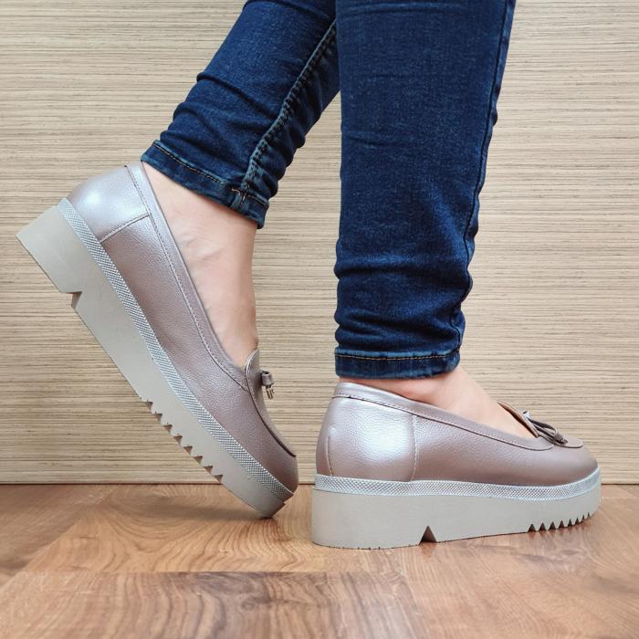 Pantofi Casual Piele Naturala Nude Louisa D02297 3