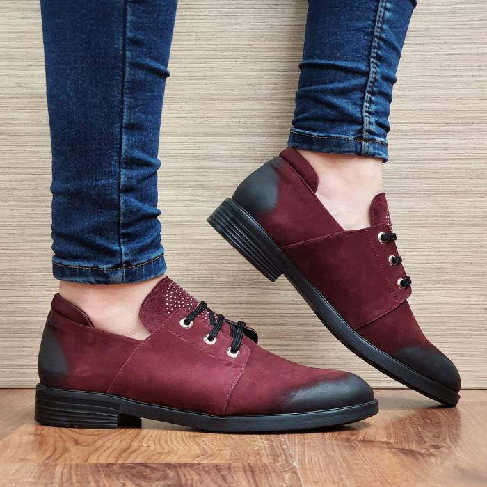 Pantofi Oxford Piele Naturala Grena Elina D02298 0