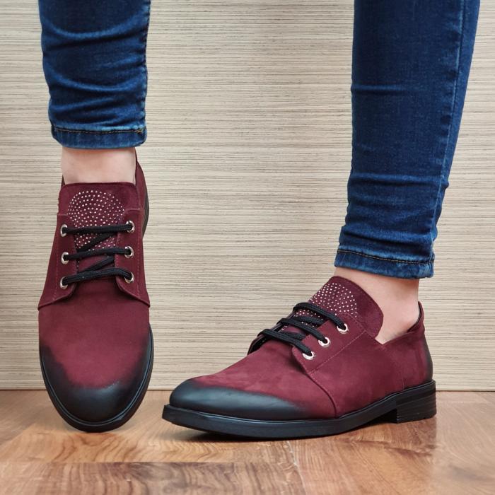 Pantofi Oxford Piele Naturala Grena Elina D02298 2